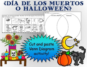 cut & paste venn diagram activity- d�a de los muertos o halloween-  worksheet