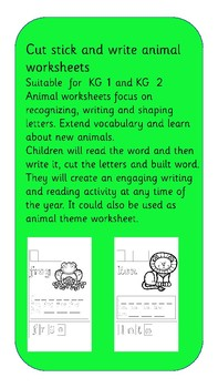 Cut stick and write animal worksheets
