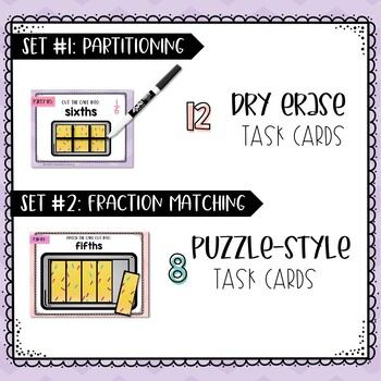 Cut the Cake - Partitioning Fractions Hands-on Task Cards