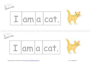 "Cut up sentences independent reading group activities ""I am a..."""