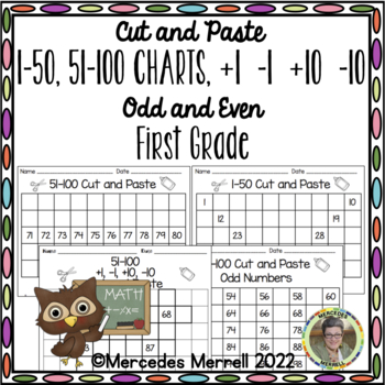 Revised  Cut-Paste 1-30, 1-50, 51-100 Charts, By 2s, 5s,10s, Odd-Even BUNDLE!