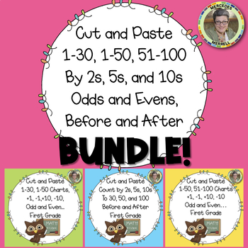 Cut-Paste 1-30, 1-50, 51-100 Charts, By 2s, 5s, Odd and Even BUNDLE!