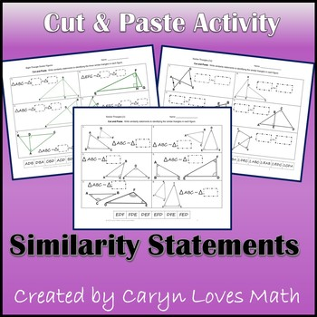 Writing Similarity Statements for Triangles~Cut/Paste Acti
