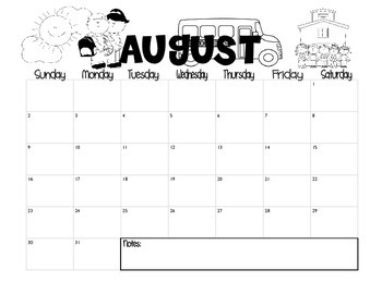 Cute 2015-2016 Classroom Calendars