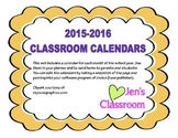 Cute 2015-2016 Classroom Calendars