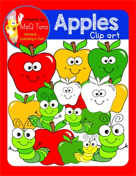 Cute Apple and Fun traceable Cliparts