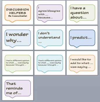 Cute Accountable Talk / Discussion Sentence Stems for Bulletin Boards