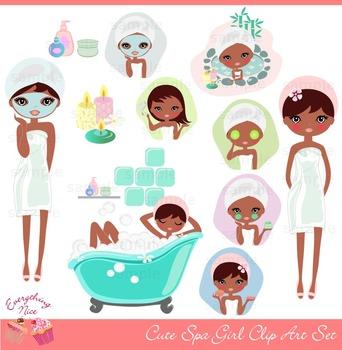 Cute African - American Spa Girl Clipart Set