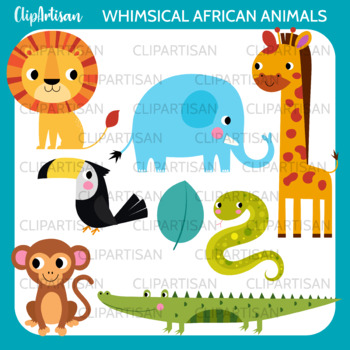 Cute African Animals Clip Art, Safari Animals, Jungle Animals