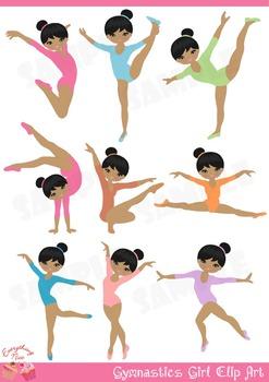 Cute African - American Gymnastics / Gymnast Girl Clip Art
