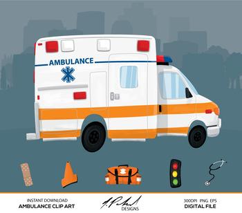 Cute Ambulance Digital Clip Art - Digital File - Cartoon Style Ambulance Clipart