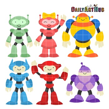 Cute And Cool Robots Clip Art - Great for Art Class Projects!