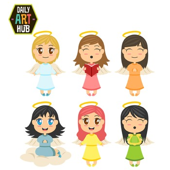 Cute Angels Clip Art - Great for Art Class Projects!