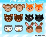 Animal faces clipart commercial use