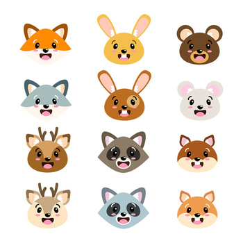 Cute Animal Faces Clipart, Woodland Animal Faces Clipart, Forest Animal Heads