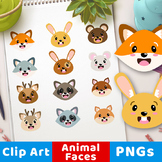 Cute Animal Faces Clipart, Woodland Animal Faces Clipart,
