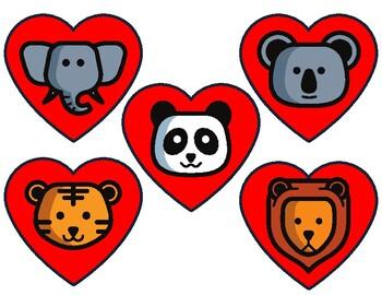 Cute Animal Head Valentine Hearts Reward (VIPKID)