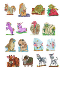 Cute Animal Mother and Baby Clipart (Watercolor Whimsy)