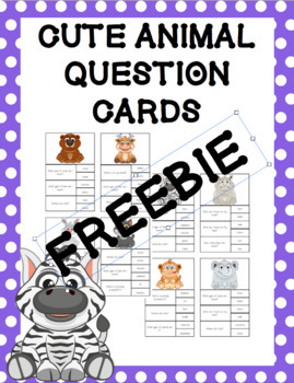 Cute Animal Question Clip Cards FREEBIE