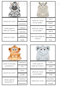 Cute Animal Question Clip Cards FREEBIE