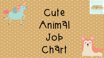 Cute Animal Theme Job Chart