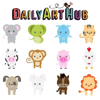 Cute Animals Clip Art - Great for Art Class Projects!