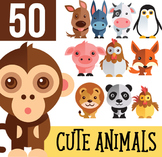 Cute Animals Clipart Set transparent background  - instant