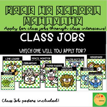 Cute Animals: Editable Class Jobs Display and Activity