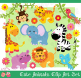 Cute Animals, Jungle Safari Savannah Wild Animals Clip Art Set