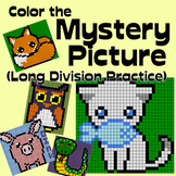 Cute Animals Math Mystery Picture - Long Division Practice