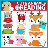 Reading Clip Art: Cute animals reading books