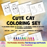 Cute Cat Coloring Set - 3 in 1 - Commercial Use Allowed