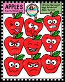 Cute Apple Face Emotions - 18 images in Color & BW {KT Creates}