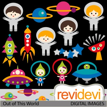 Cute Astronaut Clip art (out of this world) rocket, ufo, space