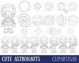 Cute Astronauts Clip Art, Space Coloring Activity