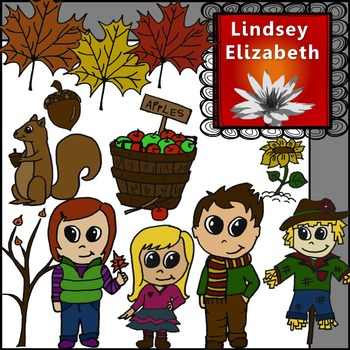 Cute Autumn Kids {Digital Clip Art}