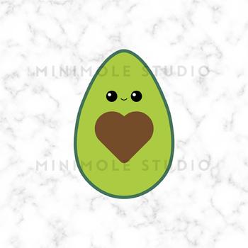 Cute Avocado SVG PNG Clip Art Graphic, Heart Pip, Healthy Eating, Vegetarian
