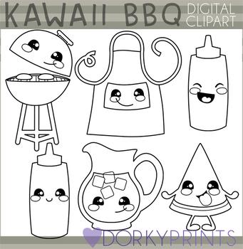 Cute BBQ Blackline Clipart