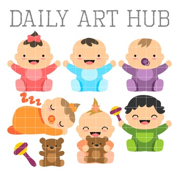 Cute Babies Clip Art - Great for Art Class Projects!