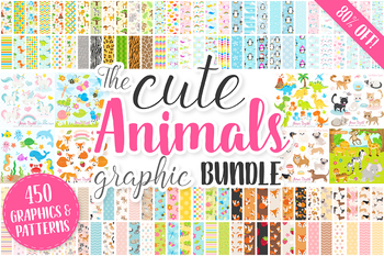 80% OFF Cute Baby Animals Clip art Graphics and Digital Papers Patterns Bundle