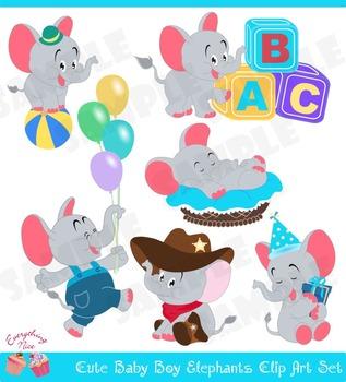 Cute Baby Boy Elephants Clipart Set