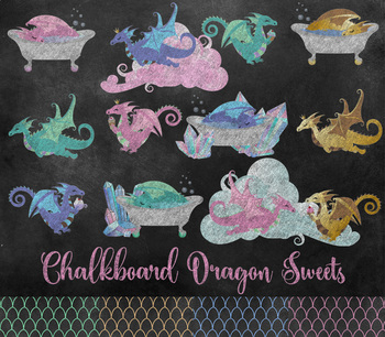 Cute Baby Chalkboard Dragon Sweets - PNG Clipart, desserts