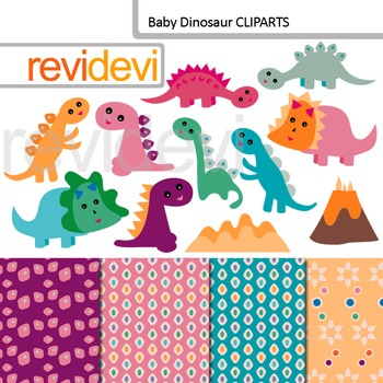 Cute Baby Dinosaur Clip art - Dino clipart (commercial use)