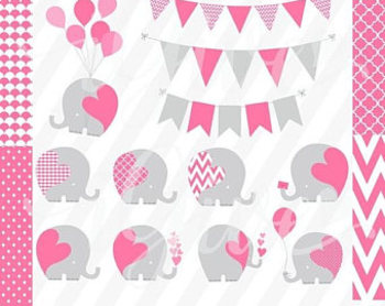 Cute Baby Elephants Vector and Seamless Digital Backgrounds