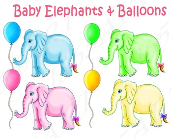 Cute Baby Elephants and Balloons Clipart Set