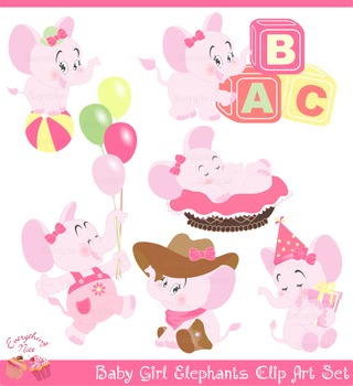 Cute Baby Girl Elephants Clipart Set