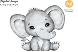 Cute Baby Gray Unisex Elephant Clip Art