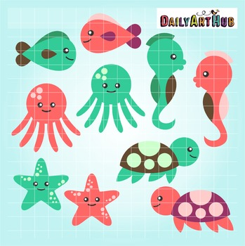 Cute Baby Sea Creatures Clip Art - Great for Art Class Projects!