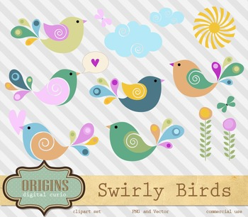 Cute Baby Swirly Birds Vector Clipart EPS PNG SVG cricut