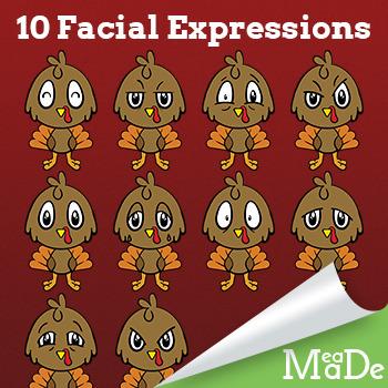 Cute Baby Turkey Clip Art - Facial Expressions - Thanksgiving Clip Art